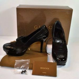 GUCCI Suede/Patent Leather Platform Heels